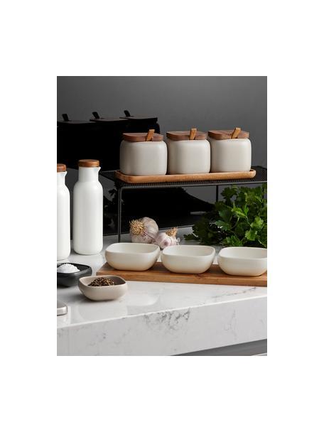 Komplet miseczek do dipów z porcelany i drewna akacjowego Essentials, 4 elem., Porcelana, drewno akacjowe, Beżowy, drewno akacjowe, Komplet z różnymi rozmiarami