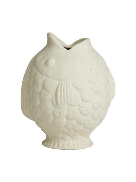 Vaso pesce bianco di design Ducie, Gres, Bianco, Ø 16 x Alt. 20 cm