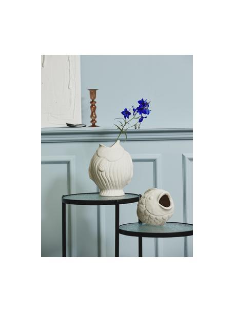 Design-Vase Ducie in Weiß, Steingut, Weiß, Ø 16 x H 20 cm