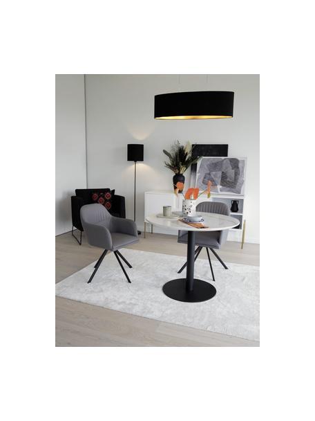 Ovale hanglamp Jamie, Baldakijn: vernikkeld metaal, Fitting: vernikkeld metaal, Zilverkleurig, zwart, 78 x 22 cm