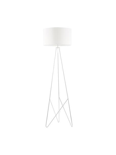 Vloerlamp Jessica met zilverkleurig-decoratie, Lampenkap: textiel, Lampvoet: verchroomd metaal, Wit, chroomkleurig, Ø 45 x H 155 cm