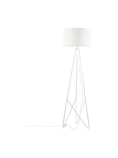 Vloerlamp Jessica in wit-zilverkleur, Lampenkap: textiel, Lampvoet: verchroomd metaal, Wit, chroomkleurig, Ø 45 x H 155 cm