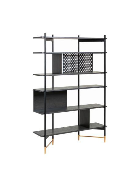 Open wandrek Shelving in zwart, Frame: gelakt metaal, Plank: MDF met essenhoutfineer, , Zwart, 120 x 177 cm