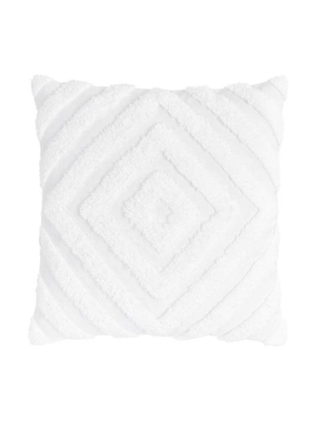Funda de cojín texturizada Kara, 100%algodón, Blanco, An 50 x L 50 cm
