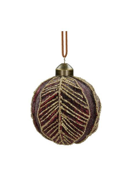 Bruchfeste Weihnachtskugeln Leaf Ø8cm, 2Stück, Glas, Polyester, Kunststoff, Dunkelrot, Ø 8 cm