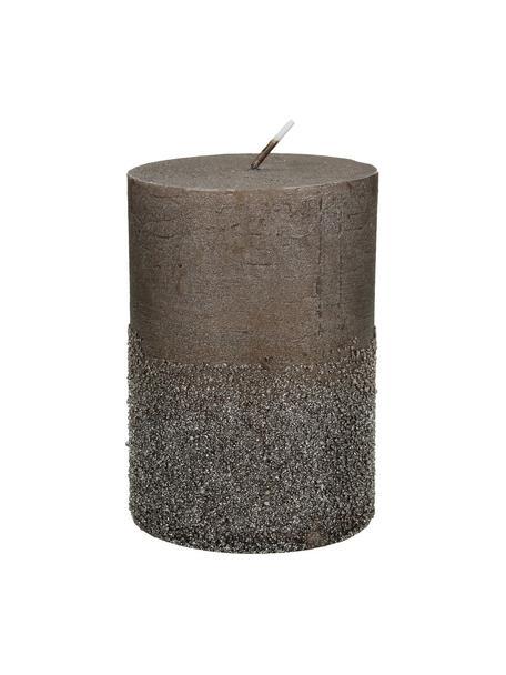 Stumpenkerze Glitters, Wachs, Braun, Ø 7 x H 10 cm