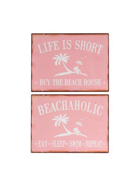 Set 2 insegne in metallo Beach, Metallo rivestito, Rosa, bianco, Larg. 35 x Alt. 27 cm