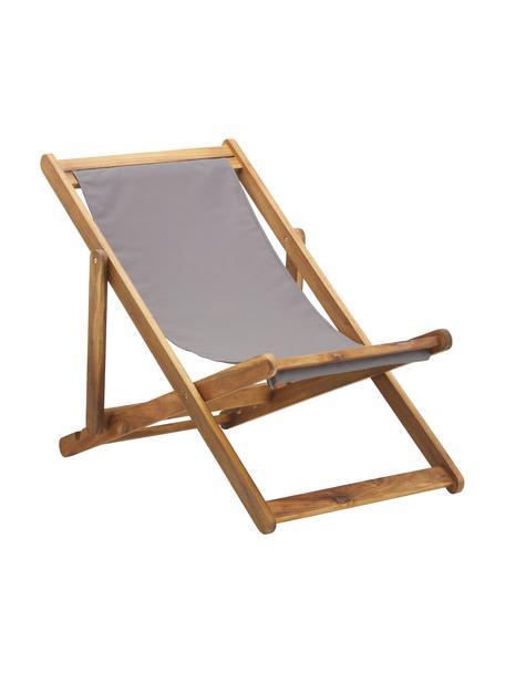 Tumbona Zoe, Asiento: 100%poliéster, Estructura: madera de acacia aceitada, Gris, An 59 x F 91 cm