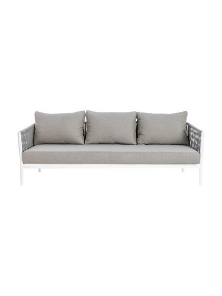 Sofá para exterior Florencia (3plazas), Estructura: aluminio con pintura en p, Asiento: poliéster, Gris, blanco, An 220 x F 85 cm