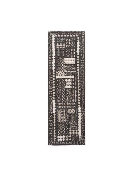 Boho katoenen loper Boa met hoog-laag patroon in zwart/wit, 100% katoen, Zwart, wit, 60 x 190 cm