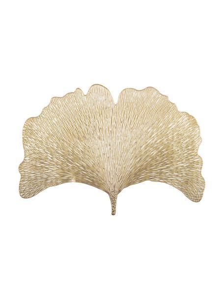 Placemats Ginkgo in bladvorm, 2 stuks, Kunststof, Goudkleurig, 30 x 44 cm