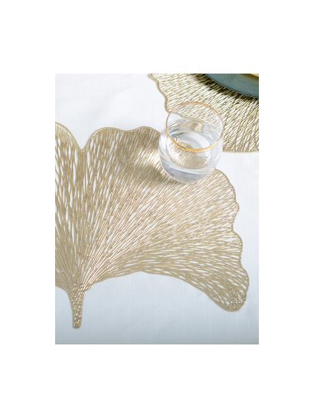 Goudkleurige kunststoffen placemats Ginkgo in bladvorm, 2 stuks, Kunststof, Goudkleurig, 30 x 44 cm