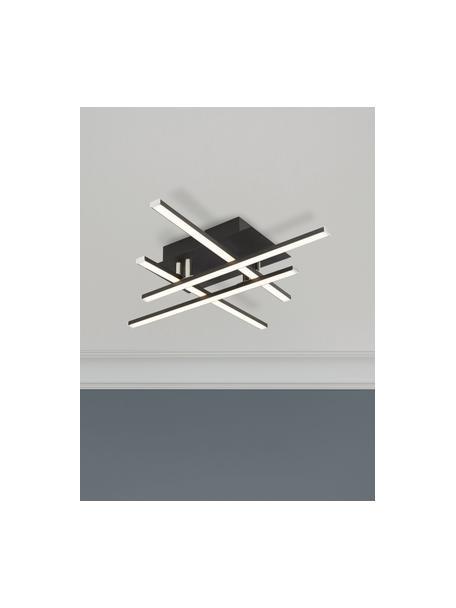 Dimbare LED plafondlamp Matrix, Lampenkap: gecoat aluminium, Baldakijn: gecoat metaal, Diffuser: kunststof, Mat zwart, wit, 46 x 9 cm
