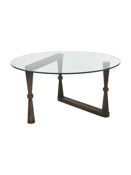 Tavolino da salotto con piano in vetro NuD, Gambe: legno, Legno scuro, trasparente, Ø 80 x Alt. 41 cm