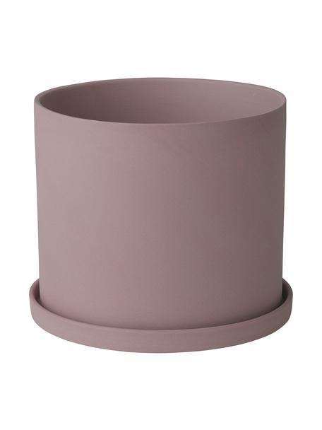 Maceta pequeña de porcelana Nona, Porcelana, Rosa palo, Ø 15 x Al 13 cm
