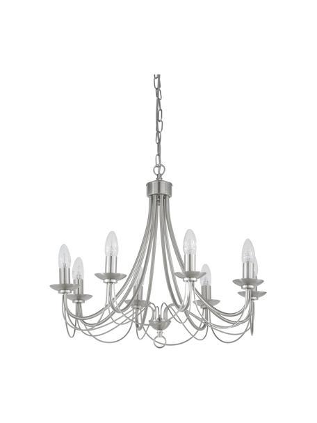 Lámpara de araña Maypole, Estructura: acero cepillado, Anclaje: acero cepillado, Cable: plástico, Acero, Ø 60 x Al 50 cm