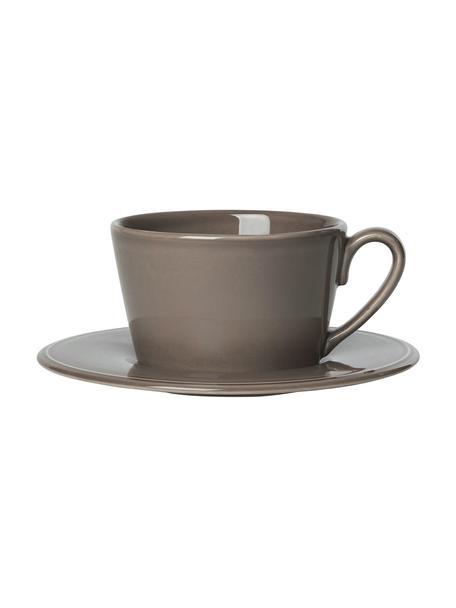 Taza de té con platito Constance, estilo rústico, Gres, Marrón, Ø 19 x Al 8 cm