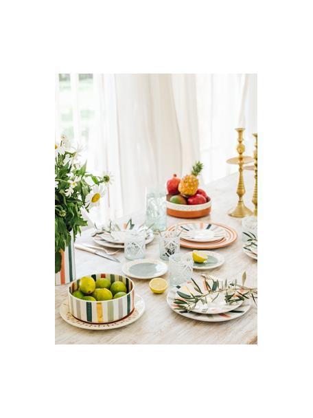 Plato llano artesanal Assiette, estilo marroquí, Cerámica, Naranja, crema, oro, Ø 26 cm