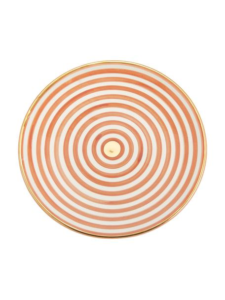 Handgemachter marokkanischer Speiseteller Assiette mit Goldrand, Keramik, Orange, Cremefarben, Gold, Ø 26 cm