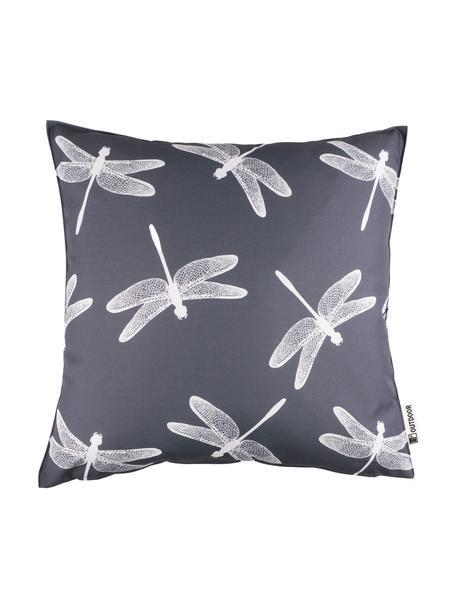 Cuscino da esterno con motivo libellule Dragonfly, 100% poliestere, Grigio scuro, bianco, Larg. 47 x Lung. 47 cm