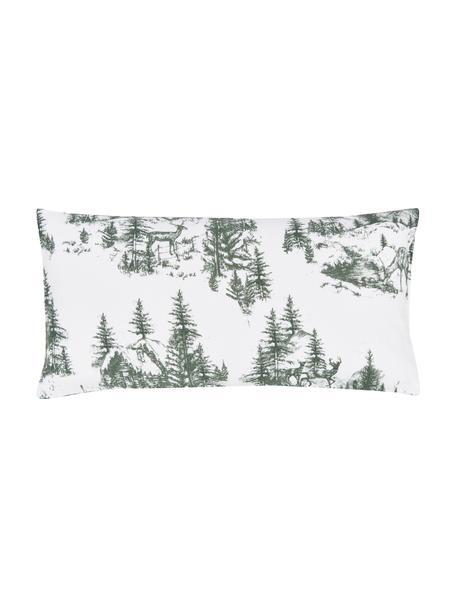 Flanell-Kissenbezüge Nordic mit winterlichem Motiv, 2 Stück, Webart: Flanell Flanell ist ein k, Grün, Weiß, 40 x 80 cm
