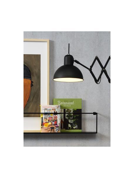 Wandlamp Aberdeen met stekker, Lampenkap: gelakt metaal, Frame: gelakt metaal, Zwart, 25 x 27 cm