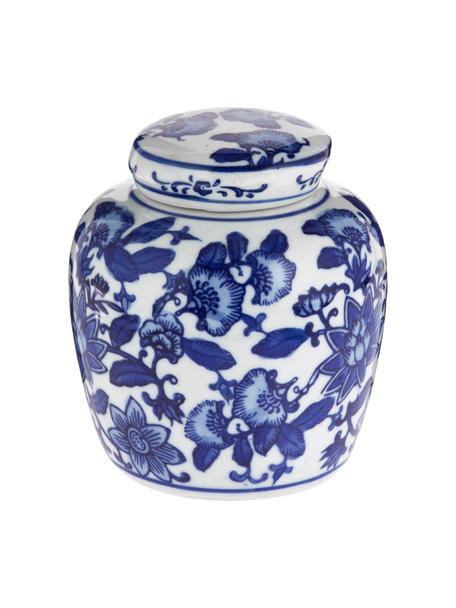 Kleine vaas met deksel Annabelle van porselein, Porselein, Blauw, wit, Ø 11 x H 13 cm