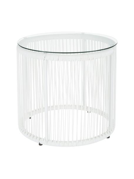Stolik pomocniczy ze splotu z tworzywa sztucznego Bahia, Blat: szkło, Stelaż: aluminium malowane proszk, Biały, Ø 50 x W 45 cm