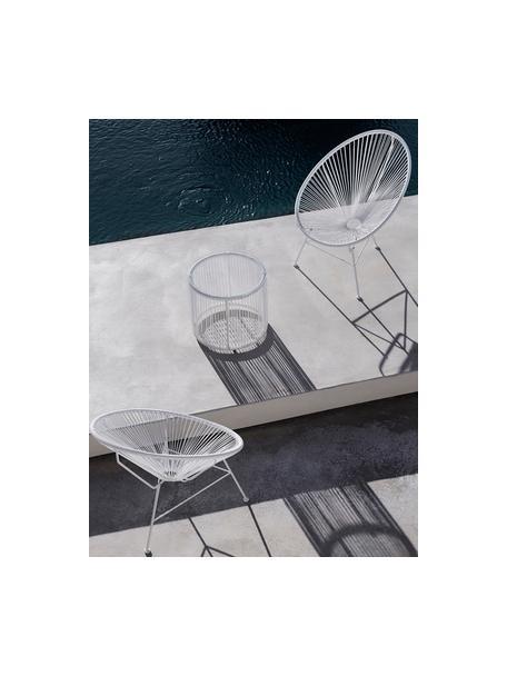 Stolik pomocniczy ze splotu z tworzywa sztucznego Bahia, Blat: szkło, grubość, Stelaż: aluminium, malowane prosz, Blat: transparentny Boki i rama: biały, Ø 50 x W 45 cm