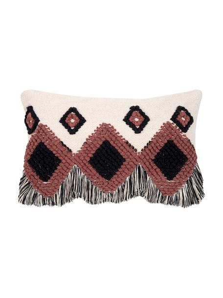 Funda de cojín Tanea, estilo étnico, 100%algodón, Crudo, negro, rojo cobrizo, An 40 x L 60 cm