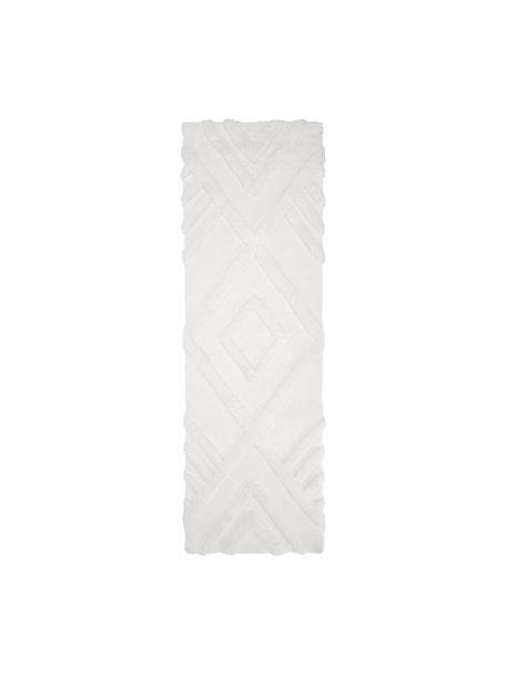 Pluizige hoogpolige loper Magda met verhoogd hoog-laag patroon, Bovenzijde: 100% polyester (microveze, Onderzijde: 55% polyester, 45% katoen, Beige, 80 x 250 cm