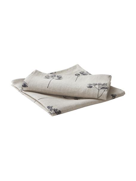 Servilletas de lino Leaf, 2uds., 100%lino, Beige, negro, An 45 x L 45 cm