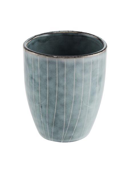 Tazas originales artesanales Nordic Sea, 6uds., Gres, Tonos grises y azules, Ø 7 x Al 8 cm