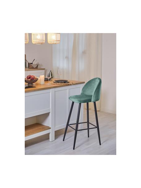 Krzesło barowe z aksamitu Amy, Tapicerka: aksamit (poliester) 2000, Nogi: metal malowany proszkowo, Aksamitny turkusowy, S 45 x W 103 cm