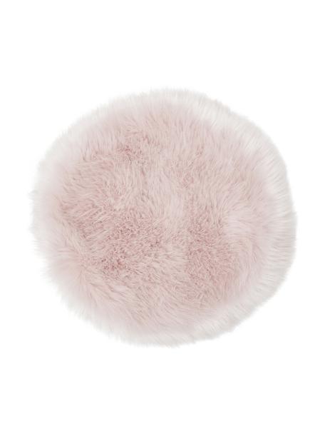 Cuscino sedia rotondo in eco pelliccia lisica Mathilde, Retro: 100% poliestere, Rosa, Ø 37 cm