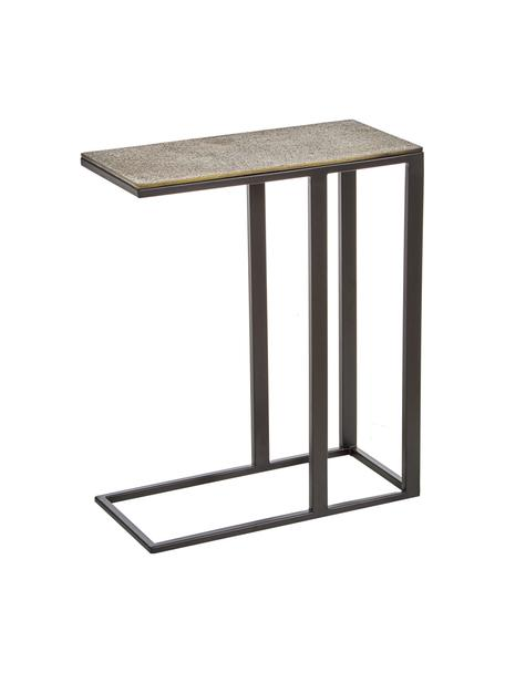 Bijzettafel Edge in industrieel ontwerp, Tafelblad: gecoat aluminium, Frame: gelakt metaal, Messing, zwart, 43 x 52 cm