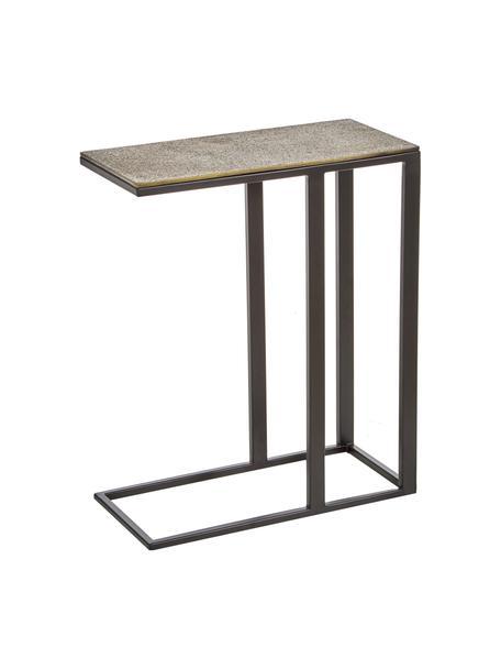 Tavolino industrial in metallo Edge, Piano d'appoggio: alluminio rivestito, Struttura: metallo verniciato a polv, Ottone, cremoso antico, nero, opaco, Larg. 43 x Alt. 52 cm