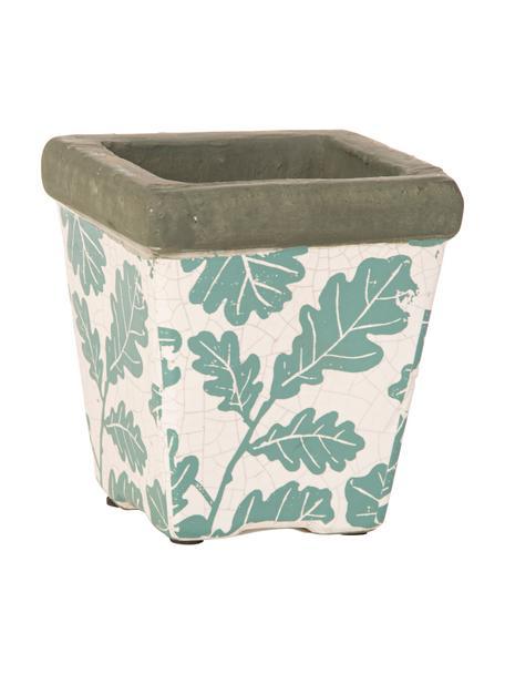 XS plantenpot Crack, Keramiek, Wit, groen, grijs, 10 x 11 cm