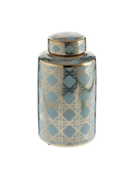 Vaso in porcellana con coperchio Egypt, Porcellana, Turchese, dorato, Ø 17 x Alt. 30 cm