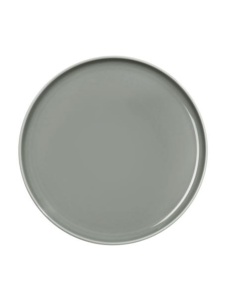 Porzellan-Frühstücksteller Kolibri in Grau glänzend, 6 Stück, Porzellan, Grau, Ø 21 cm
