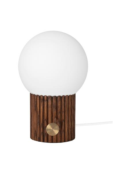Kleine Dimmbare Nachttischlampe Hubble aus Holz, Lampenschirm: Opalglas, Lampenfuß: Holz, Schalter: Metall, Braun, Weiß, Ø 15 x H 24 cm