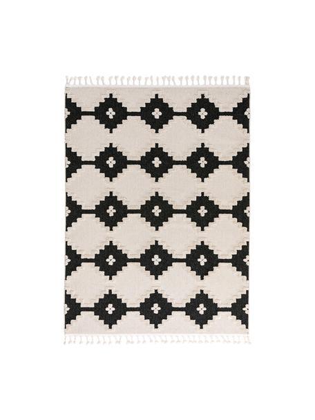 Tappeto boho Oyo Square, Vello: poliestere, Retro: cotone, Crema, antracite, Larg. 160 x Lung. 230 cm