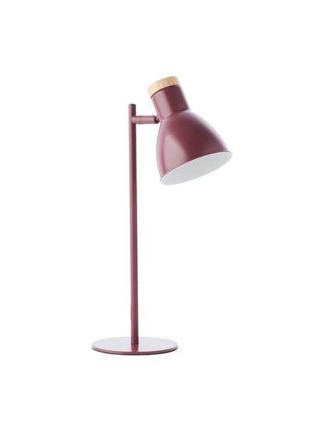 Schreibtischlampe Venea mit Holz-Dekor, Lampenschirm: Metall, Lampenfuß: Metall, Dekor: Holz, Dunkelrosa, Braun, Ø 15 x H 47 cm