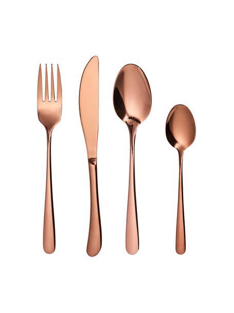 Set 4 posate rosa dorate in acciaio inossidabile Queens, Acciaio inossidabile rivestito, Rosa dorato, Set in varie misure