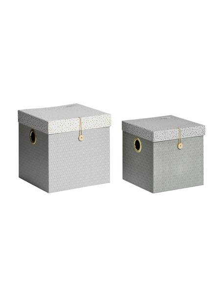 Komplet pudełek do przechowywania Square, 2 elem., Tektura laminowana, Szary, Komplet z różnymi rozmiarami
