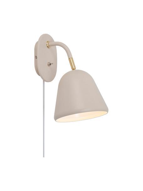 Applique con spina beige Fleur, Paralume: metallo rivestito, Base della lampada: metallo rivestito, Decorazione: metallo, Beige, Larg. 15 x Alt. 26 cm