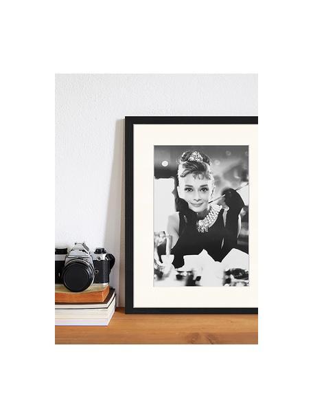 Ingelijste digitale print Breakfast At Tiffanys, Afbeelding: digitale print op papier,, Lijst: gelakt hout, Zwart, wit, 33 x 43 cm
