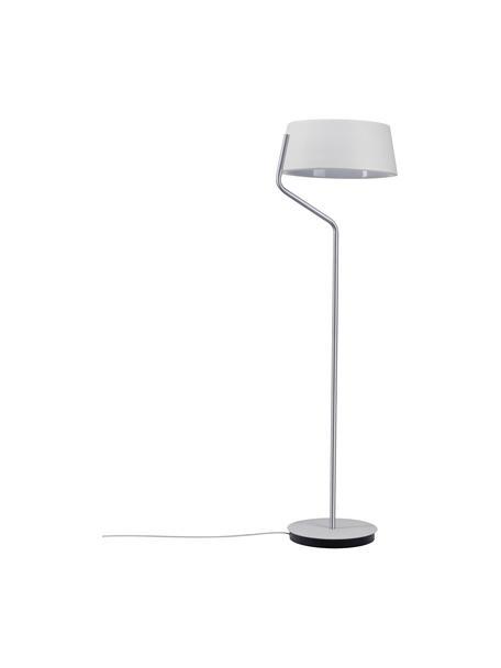 Dimbare LED vloerlamp Belaja van metaal, Lampenkap: gecoat metaal, Lampvoet: geborsteld metaal, Wit, zilverkleurig, Ø 43 x H 148 cm