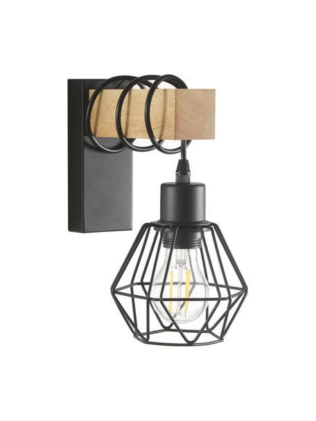 Wandlamp Townshend in industrieel design, Lampenkap: gecoat metaal, Frame: hout, Zwart, houtkleurig, 14 x 25 cm