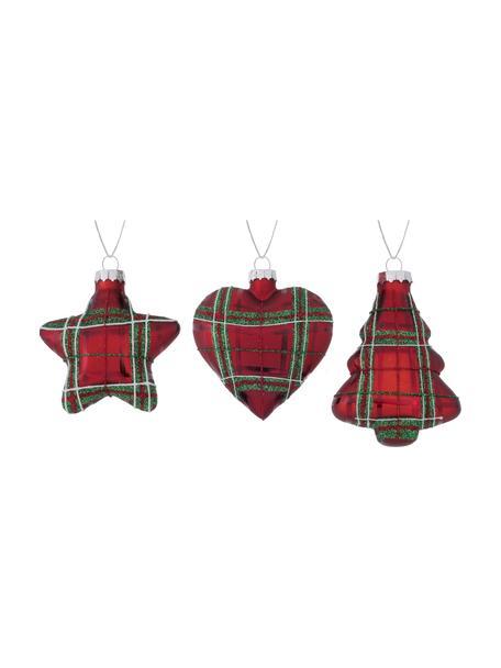 Adornos navideños Scotty, 3uds., Adornos: vidrio, Rojo, verde, blanco, Ø 8 x Al 10 cm